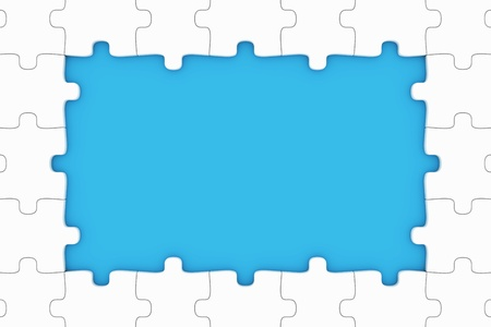 business metaphor: Puzzle pieces frame