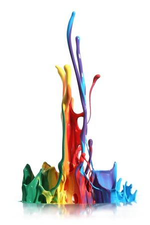 splattered: Colorful paint splashing isolated on white Stock Photo