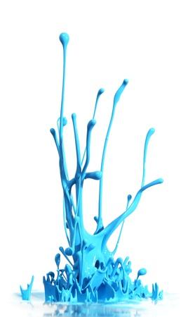 splashing: Blue paint splashing