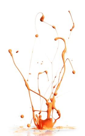 Orange paint splashing photo