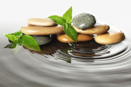 ripple: Stones in water with leaves Stock Photo