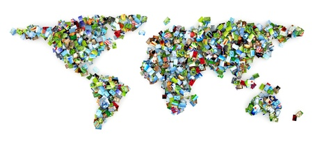 multimedia background: Collection of photos in the shape of earth Stock Photo