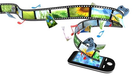 videos: Smartphone with photos, video, music, and games Stock Photo