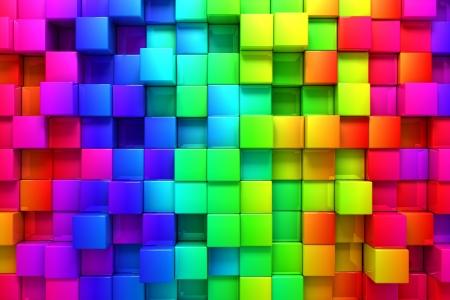 Regenboog van kleurrijke dozen