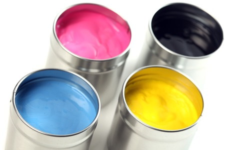 CMYK cans of paint photo