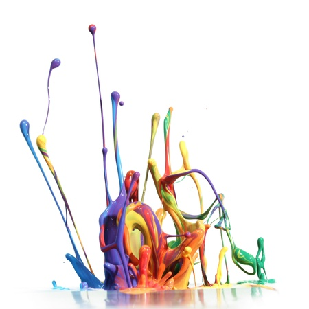 Vernice colorata spruzzi isolato sul bianco Archivio Fotografico - 10227492