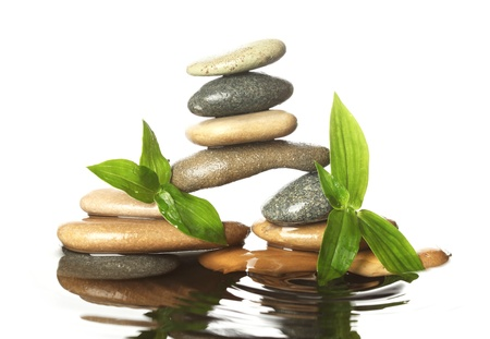 stack rock: Stones in water with leaves Stock Photo