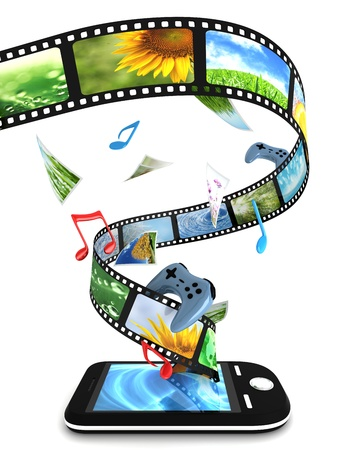 computer game: Smartphone with photos, video, music, and games Stock Photo