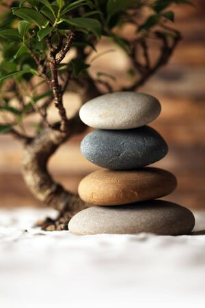 Stacked stones on sand with bonsai tree photo