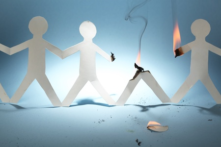 burn: Paper people Stock Photo