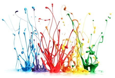 pigment: Colorful paint splashing isolated on white Stock Photo