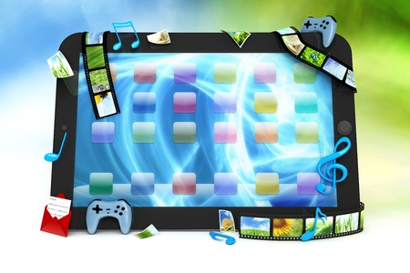 computer game: Tablet computer with movies, music, and games Stock Photo