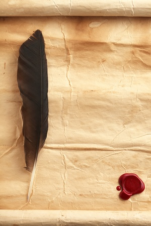 medieval scroll: Quill on blank paper with wax seal