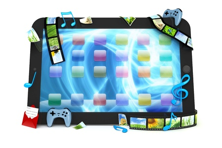 computer gaming: Tablet computer with movies, music, and games Stock Photo