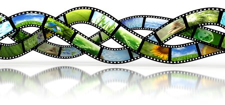 film roll: Film strips with images