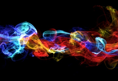 colourful fire: Red and blue smoke