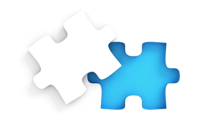 puzzle shape: Puzzle with missing peice Stock Photo