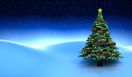 christmas snow: Winter scene with Christmas tree - 3D render