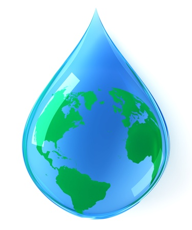 reflection of life: Earth water drop Stock Photo