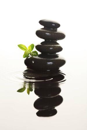 spa rocks: Stones in water Stock Photo