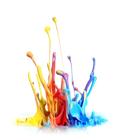 messy paint: Colorful paint splash