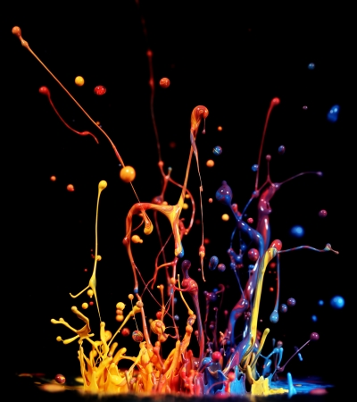 dripping paint: Colorful paint splashing