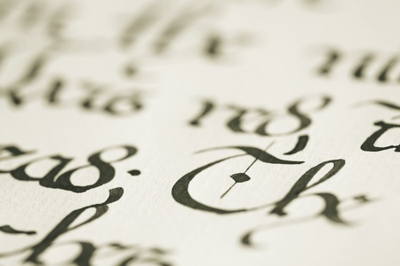 Closeup of calligraphy photo