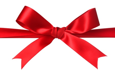 seasonal symbol: Red bow isolated on white