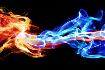 blue flame: Red and blue smoke