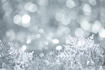 Snowflakes in tinsel