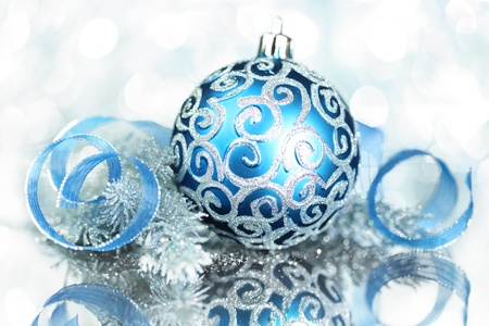 Blue Christmas decorations with bright lights Archivio Fotografico