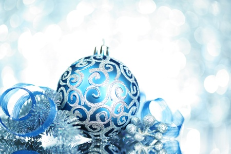 silver ribbon: Blue Christmas decorations with bright lights Stock Photo
