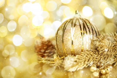 Golden Christmas decorations photo