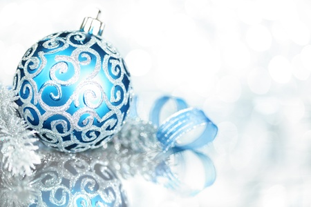 silver christmas: Blue Christmas decorations with bright lights Stock Photo