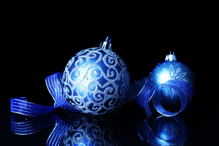 with reflection: Blue Christmas decorations