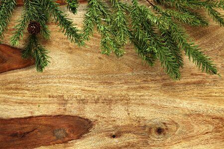 Christmas decorations on wooden background Banco de Imagens