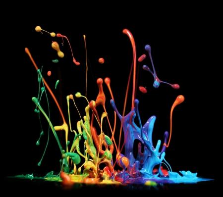 rainbow colors: Colorful paint splashing