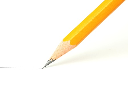 wooden pencil: Drawing a line with a pencil