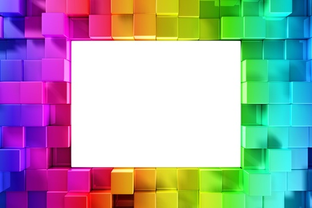 rainbow: Rainbow of colorful blocks with empty space