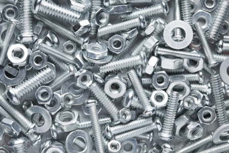 Nuts and bolts background Stock Photo