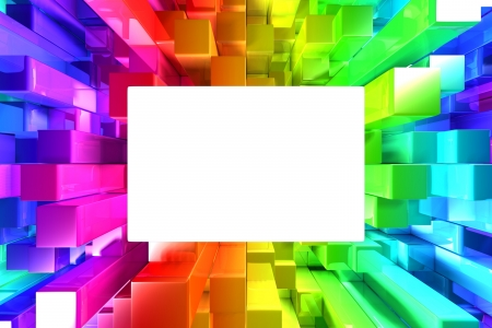 Rainbow of colorful blocks with empty space photo