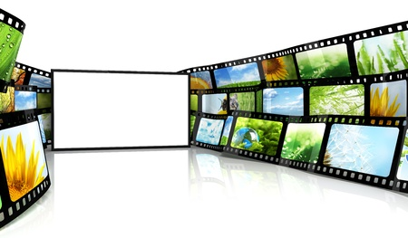 Filmstrip with blank TV photo