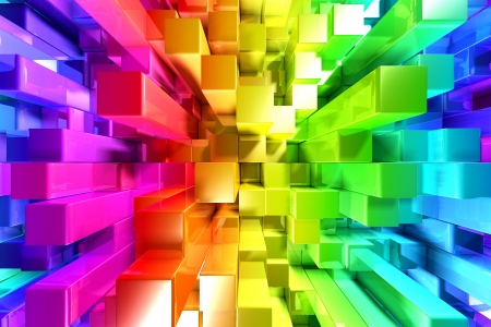 rainbow abstract: Rainbow of colorful blocks