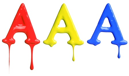dripping paint: Paint dripping alphabet A with 3 different variations in red, yellow, and blue
