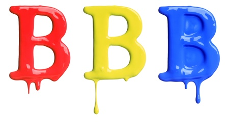 dripping paint: Paint dripping alphabet B with 3 different variations in red, yellow, and blue