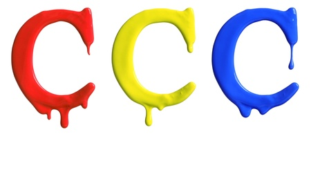 dripping paint: Paint dripping alphabet C with 3 different variations in red, yellow, and blue Stock Photo