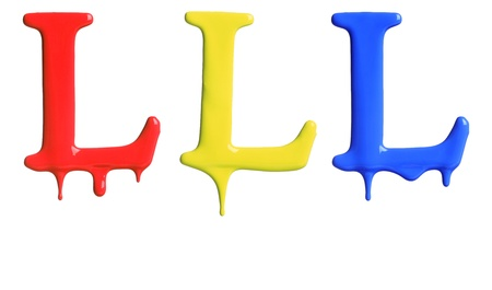 drippings: Paint dripping alphabet L with 3 different variations in red, yellow, and blue