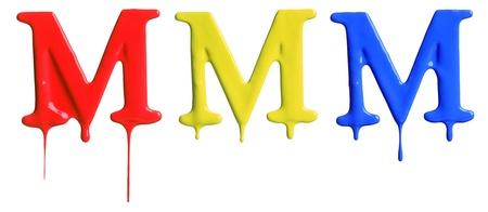 drippings: Paint dripping alphabet M with 3 different variations in red, yellow, and blue