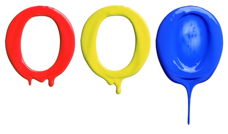 Paint dripping alphabet O with 3 different variations in red, yellow, and blue photo