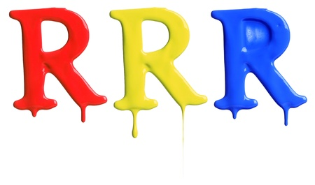 Paint dripping alphabet R with 3 different variations in red, yellow, and blue photo